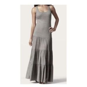 Cabi Grey Tiered Ruffled Maxi Tank Dress